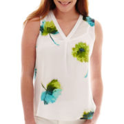 Liz Claiborne® Floral Print V-Neck Tank Top