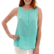 Liz Claiborne® Split-Neck Tunic Tank Top - Tall