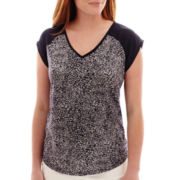 Liz Claiborne® Cap-Sleeve Mixed Media V-Neck Top