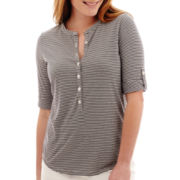 Liz Claiborne® 3/4-Sleeve Striped Roll-Tab Shirt