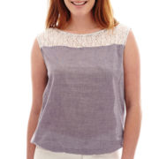 Liz Claiborne® Sleeveless Boatneck T-Shirt