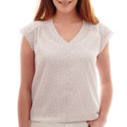 Liz Claiborne® Ruched V-Neck Banded-Hem Top