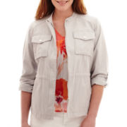 Liz Claiborne® Cropped Band Collar Anorak Jacket