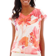 Liz Claiborne® Short-Sleeve Floral Print Ruched Top with Cami
