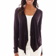 Liz Claiborne® Long-Sleeve Flyaway Knit Cardigan - Tall