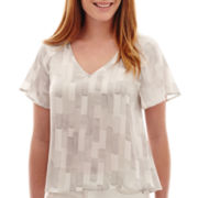 Liz Claiborne® Flutter-Sleeve V-Neck Top