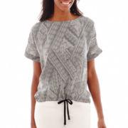 Liz Claiborne® Roll-Cuff Dolman-Sleeve Drawstring Top - Tall