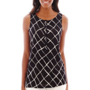 Liz Claiborne® Lattice Print Henley Tank Top