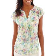 Liz Claiborne® Extended-Shoulder Popover Top