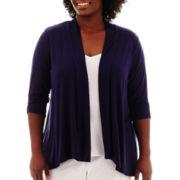 Alyx® 3/4-Sleeve Lace-Back Flyaway Sweater - Plus