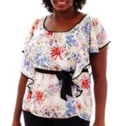 Alyx® Ruffle-Sleeve Floral Print Top - Plus
