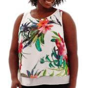 Bisou Bisou® Sleeveless Tiered Print Top - Plus