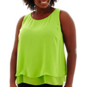 Bisou Bisou® Sleeveless Tiered Top - Plus