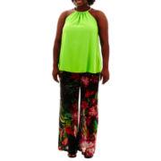 Bisou Bisou® Chain Halter Top or Print Beach Pants - Plus