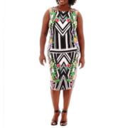 Bisou Bisou® Keyhole Top or High-Waist Print Pencil Skirt - Plus