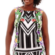 Bisou Bisou® Sleeveless Keyhole Print Top - Plus