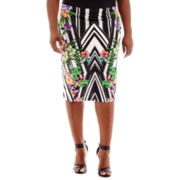 Bisou Bisou® High-Waist Print Pencil Skirt - Plus