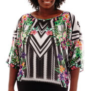 Bisou Bisou® 3/4-Sleeve Geo-Floral Print Top - Plus