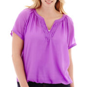 St. John's Bay® Short-Sleeve V-Neck Peasant Top - Plus