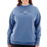 Denim Heart Trio Long-Sleeve Mockneck Sweatshirt - Plus