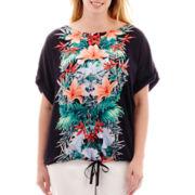 Liz Claiborne® Dolman-Sleeve Drawstring Top - Plus