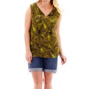 Liz Claiborne® Smocked Split-Neck Tank Top or Bermuda Shorts - Plus