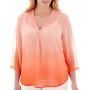 Liz Claiborne® 3/4-Sleeve V-Neck Blouse with Cami - Plus