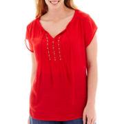 Liz Claiborne® Short-Sleeve Peasant Blouse - Plus
