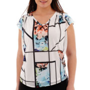 Worthington® Short-Sleeve Print Top - Plus