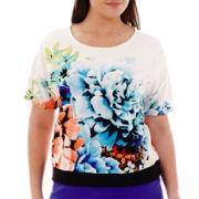Worthington® Short-Sleeve Floral Print Banded Top - Plus