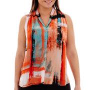Worthington® Sleeveless Button-Front Print Blouse - Plus