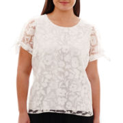 Worthington® Short-Sleeve Burnout Blouse - Plus
