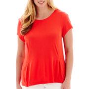 Liz Claiborne® Short-Sleeve Peplum Top - Plus