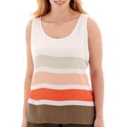 Liz Claiborne® Sleeveless Striped Tank Top - Plus