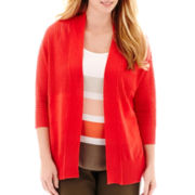 Liz Claiborne® 3/4-Sleeve Open-Front Cardigan - Plus