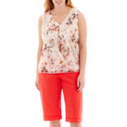 Liz Claiborne® Floral Burnout Tank Top or Cargo Cropped Pants - Plus