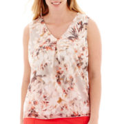 Liz Claiborne® Sleeveless Floral Burnout Tank Top - Plus