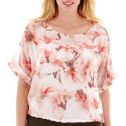 Liz Claiborne® Dolman-Sleeve Blouse with Cami - Plus