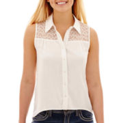 Arizona Sleeveless Button-Front Mesh-Yoke Top