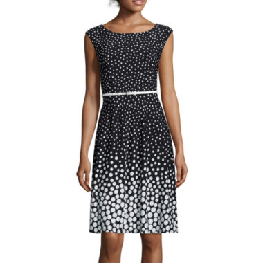 jcpenney.com | Black Label by Evan-Picone Sleeveless Dot Print Fit-and-Flare Dress