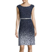 Black Label by Evan-Picone Sleeveless Belted Fit-and-Flare Dress