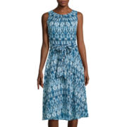 Black Label by Evan-Picone Sleeveless Printed Fit-and-Flare Dress