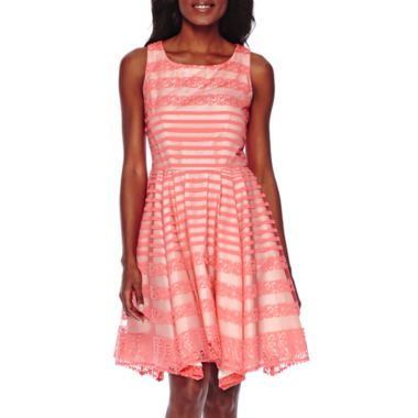 jcpenney.com | Danny & Nicole® Sleeveless Lace Stripe Fit-and-Flare Dress