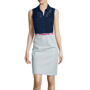 jcpenney.com | Alyx® Sleeveless Lace Layered Belted Sheath Dress