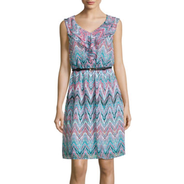 jcpenney.com | Alyx® Sleeveless Chevron-Print Ruffle-Front Belted Blouson Dress