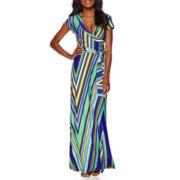 R&K Originals® Short-Sleeve Stripe Wrap Maxi Dress