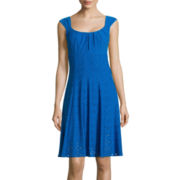 London Style Collection Sleeveless Jersey Eyelet Fit-and-Flare Dress