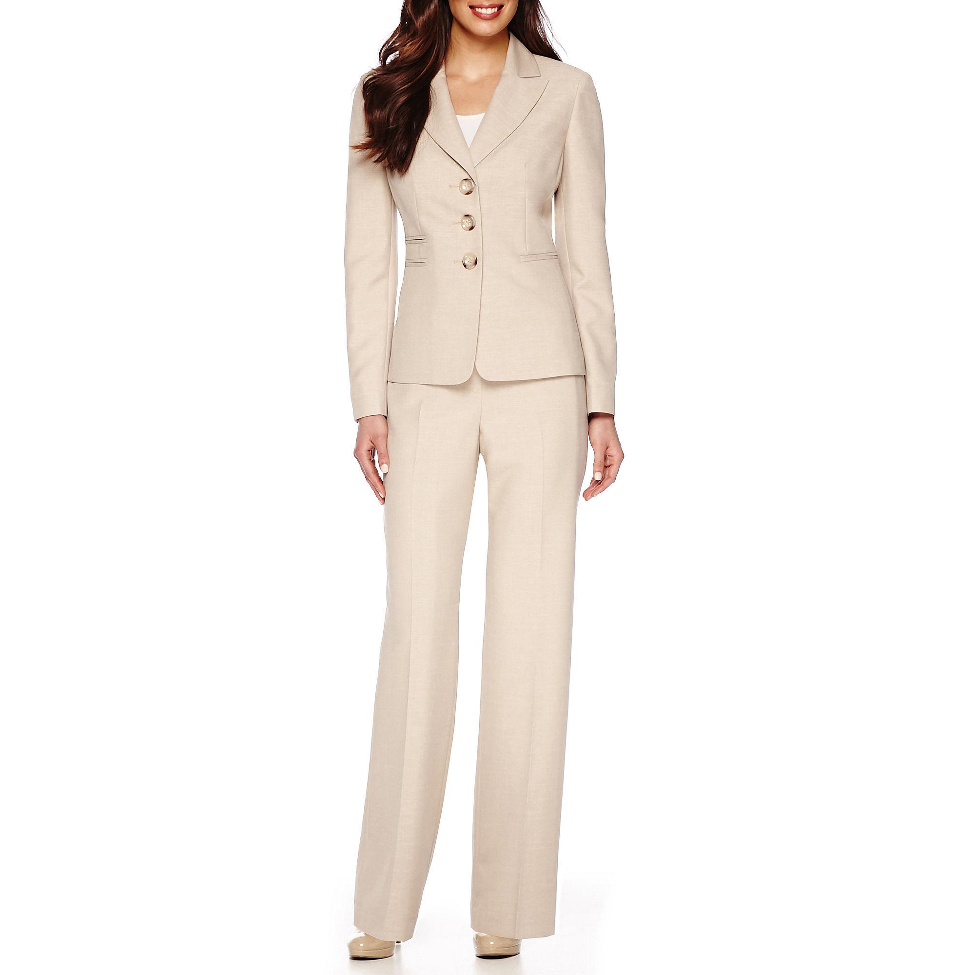 Le Suit Long-Sleeve Glazed Melange Peal Lapel Pants Suit plus size,  plus size fashion plus size appare