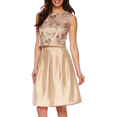 jcpenney.com | Be by Chetta B Sleeveless Sequin Top or High-Rise Silk Flare Skirt