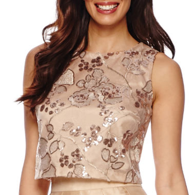 jcpenney.com | Be by CHETTA B Sleeveless Embroidered Sequin Crop Top